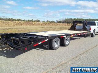 Flatbed Gooseneck 10 Ton Deckover Hd Equipment Trailer 25ft Flat Bed 20k Gvwr photo