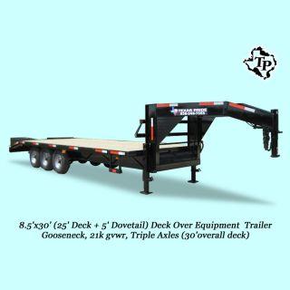 2017 Deck Over 8.  5 ' X25+5 ' Gooseneck Triple Axle Equipment Trailer 21k Gvwr photo