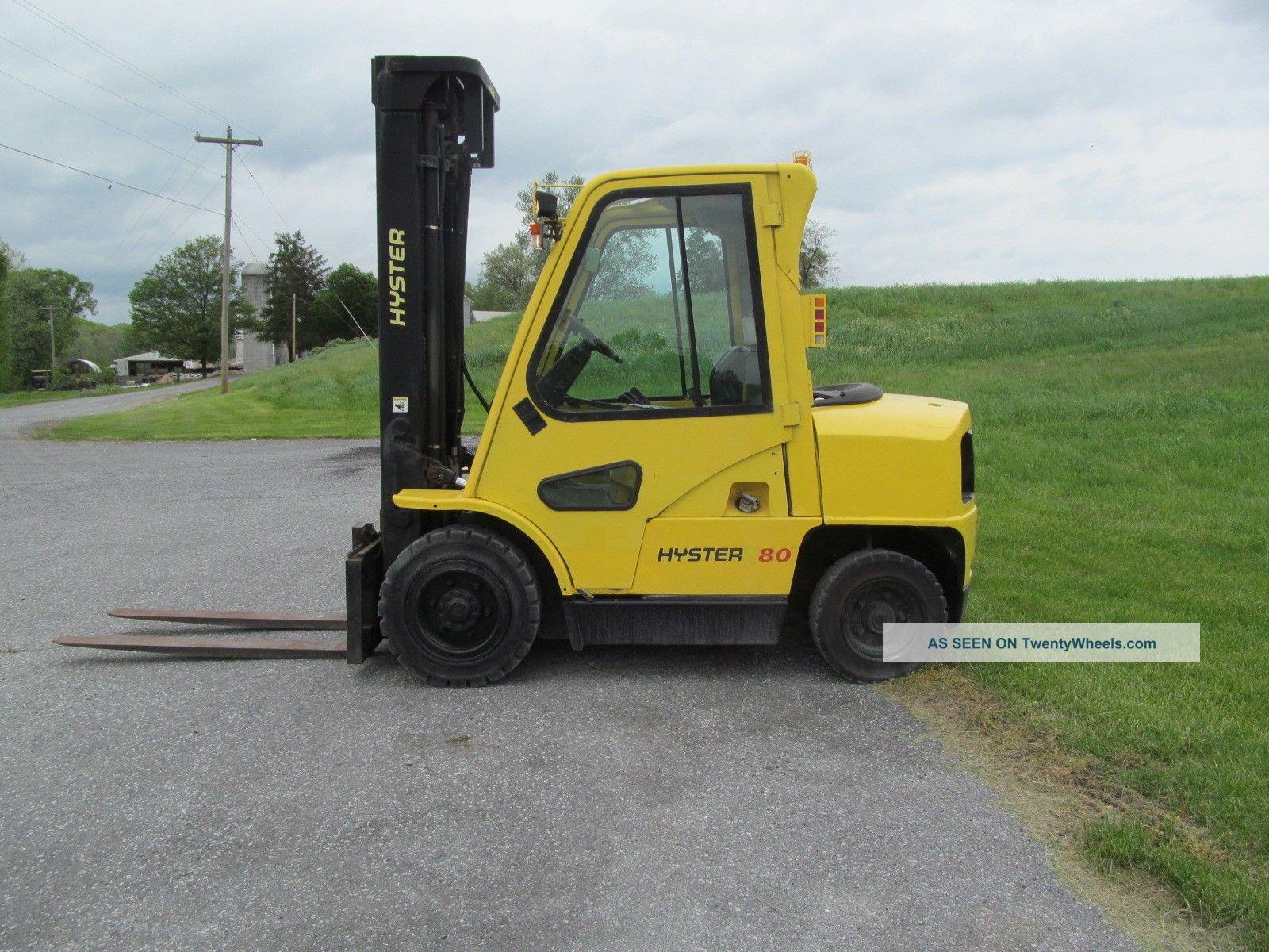 2001 hyster h80xm 8 000 pneumatic tire forklift gas cab. Black Bedroom Furniture Sets. Home Design Ideas