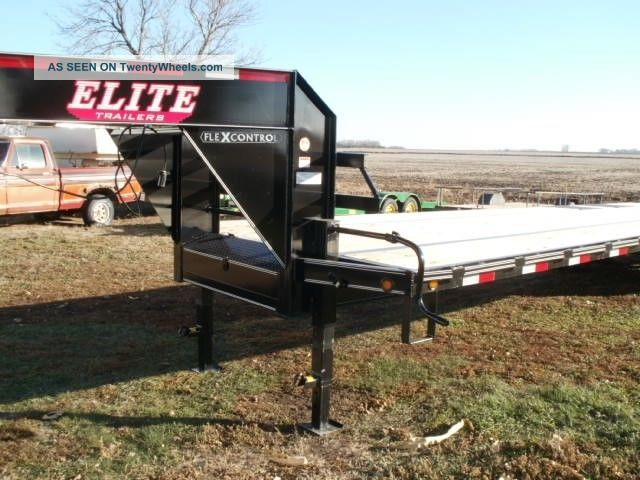 Elite 2017 Gooseneck Flatbed Trailer 27 ' Plus 5 ' Dove Tail 3 Ramps 102 Wide Trailers photo
