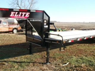 Elite 2017 Gooseneck Flatbed Trailer 27 ' Plus 5 ' Dove Tail 3 Ramps 102 Wide photo