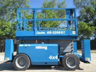 2008 Genie Gs - 3268rt All Terrain Scissor Lift Manlift Boom Lift Platform Lift photo