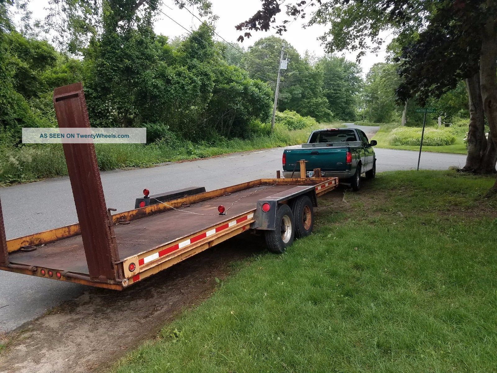 10 Ton Heavy Equipment Trailer With 4 Wheel Brakes Steel Bed With Heavy Steel Ra Trailers photo