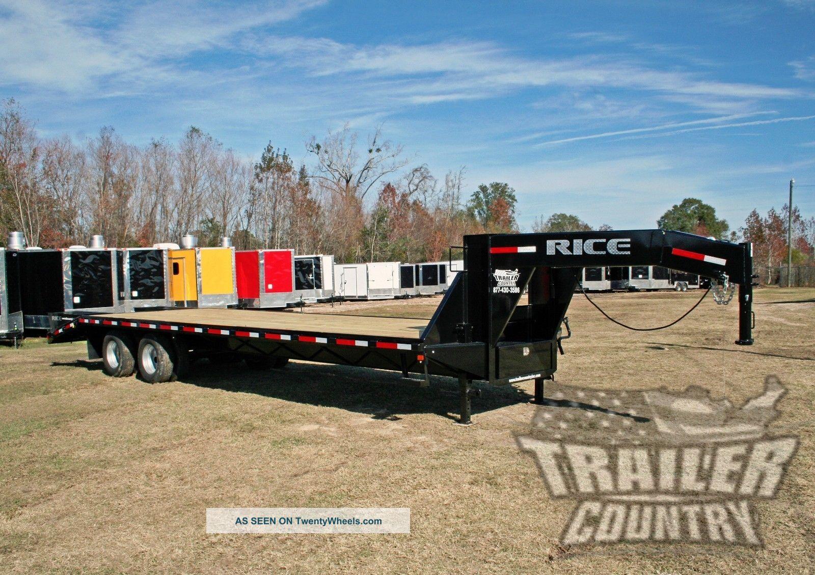 2017 10 Ton 30 ' Flat Bed Deck Over Equipment Dual Axle Gooseneck Trailer 20k Trailers photo