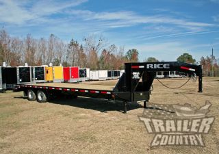 2017 10 Ton 30 ' Flat Bed Deck Over Equipment Dual Axle Gooseneck Trailer 20k photo