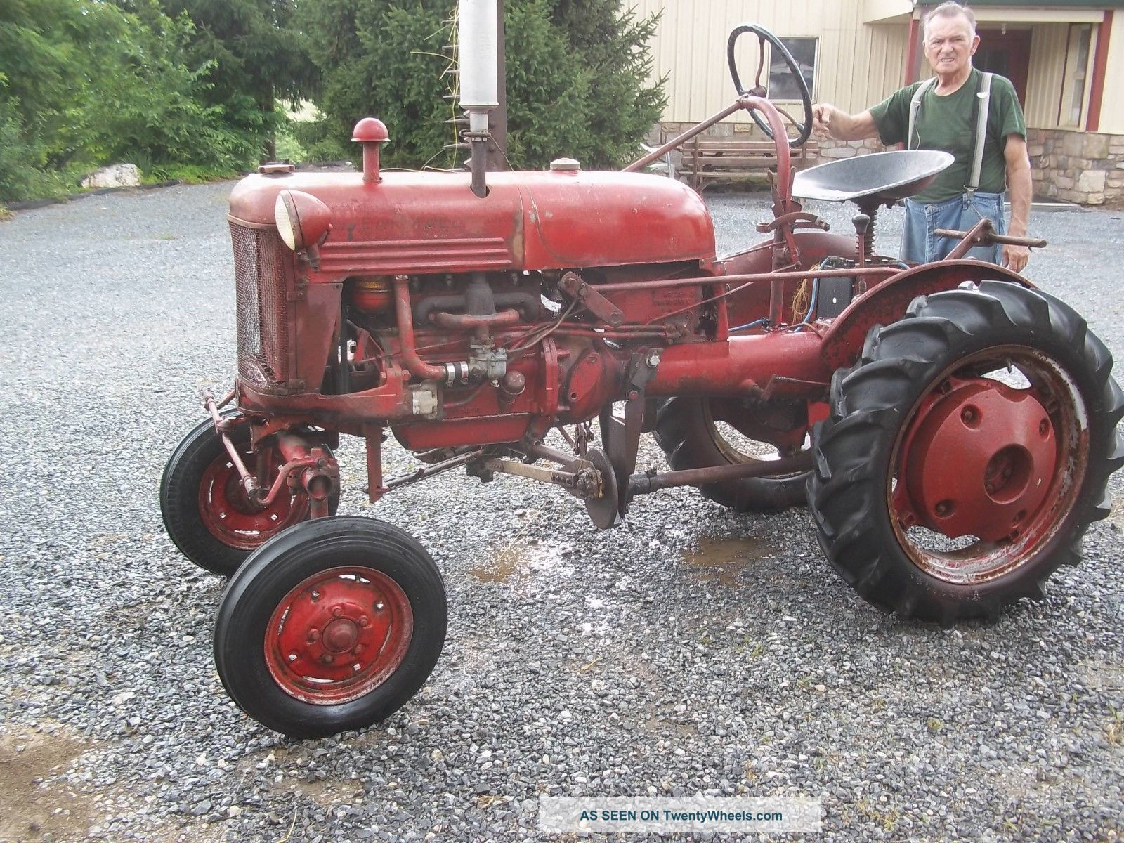 Farmall Tractor Painting : Farmall cub tractor with sickel bar mower culltivators paint