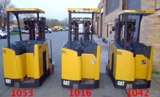 Caterpillar Ec20ks Stand Up Cat Narrow Isle Forklift Stacker 36v Side Shift 20ft photo