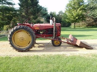 Antique 1951 Massey Harris 30 Farm Tractor With Rare Loader  Vintage photo